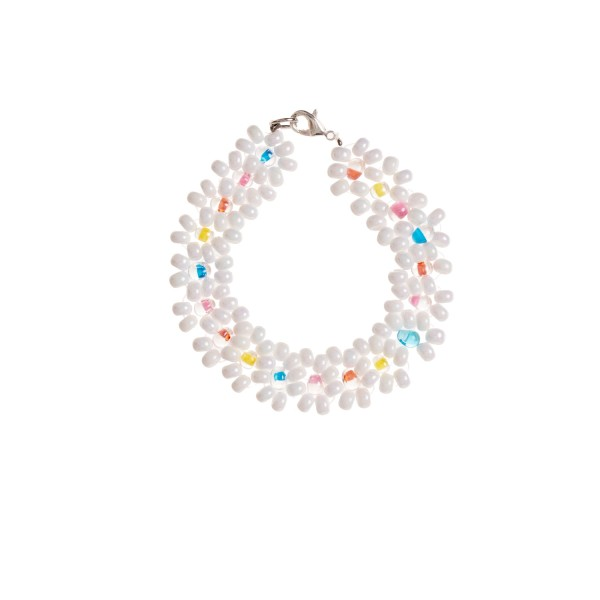 Big daisy bracelet rainbow white